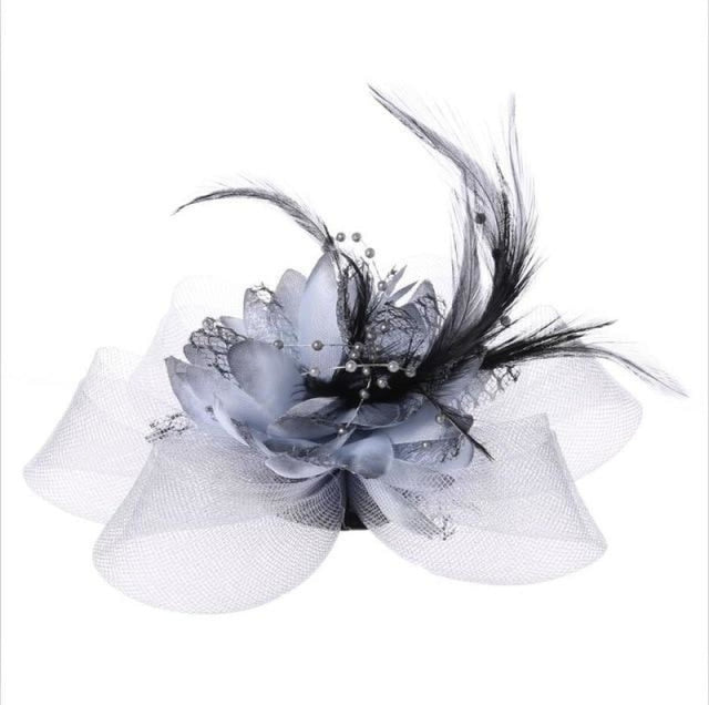Fashion Beads Mesh Feather Flower Clip Fascinators | Bridelily - Gray - fascinators