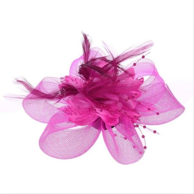 Fashion Beads Mesh Feather Flower Clip Fascinators | Bridelily - Rose Red - fascinators