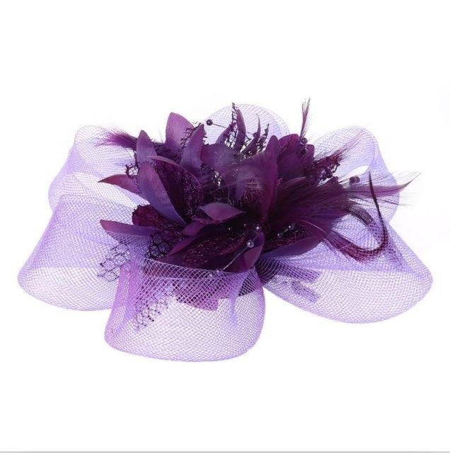 Fashion Beads Mesh Feather Flower Clip Fascinators | Bridelily - Purple - fascinators