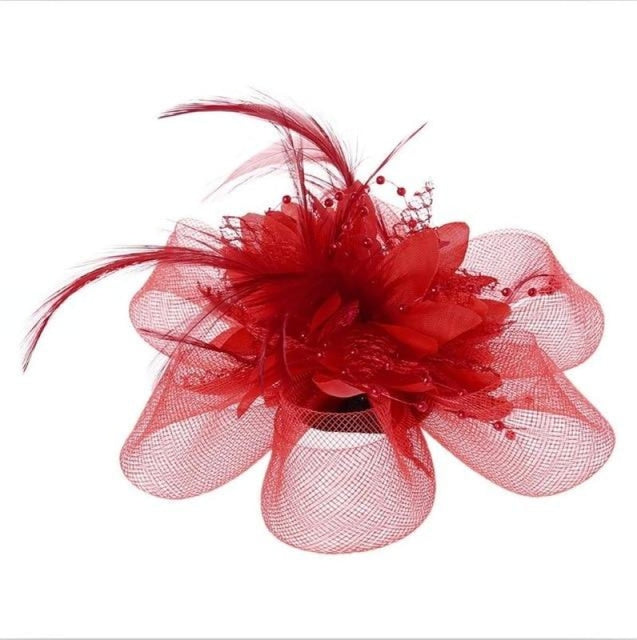 Fashion Beads Mesh Feather Flower Clip Fascinators | Bridelily - Red - fascinators