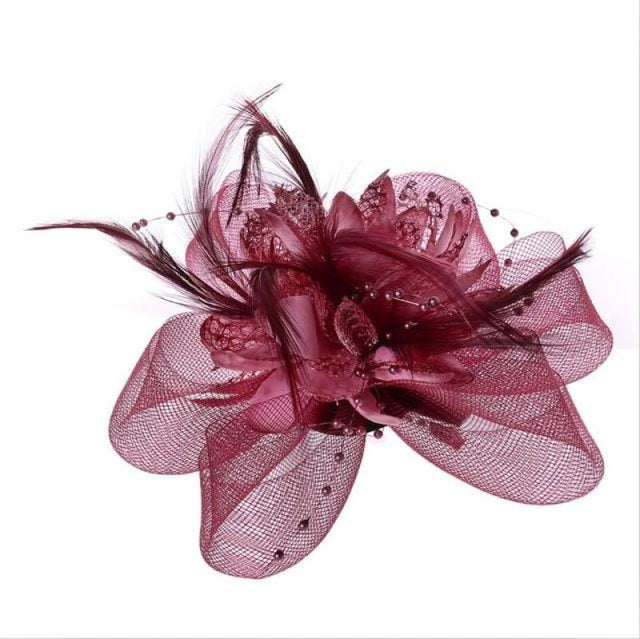 Fashion Beads Mesh Feather Flower Clip Fascinators | Bridelily - Deep Red - fascinators