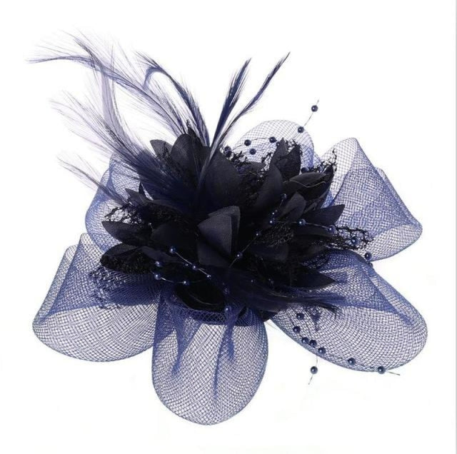 Fashion Beads Mesh Feather Flower Clip Fascinators | Bridelily - Royal Blue - fascinators