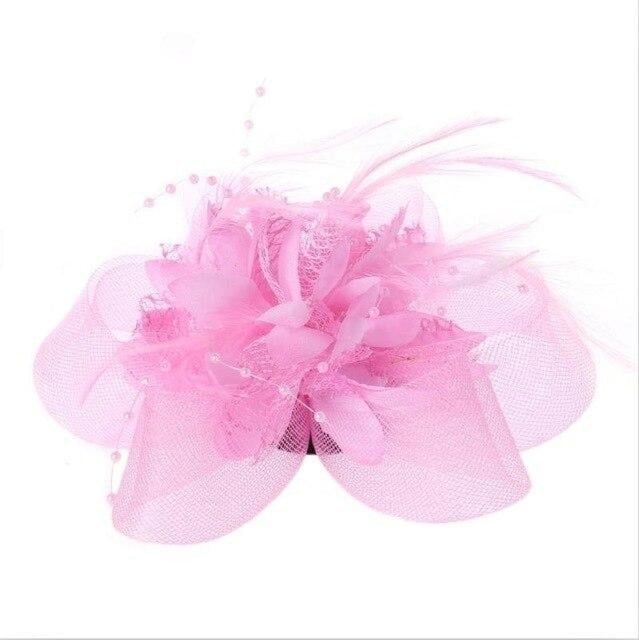 Fashion Beads Mesh Feather Flower Clip Fascinators | Bridelily - Pink - fascinators