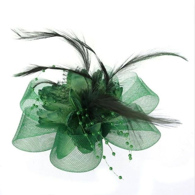 Fashion Beads Mesh Feather Flower Clip Fascinators | Bridelily - GREEN - fascinators