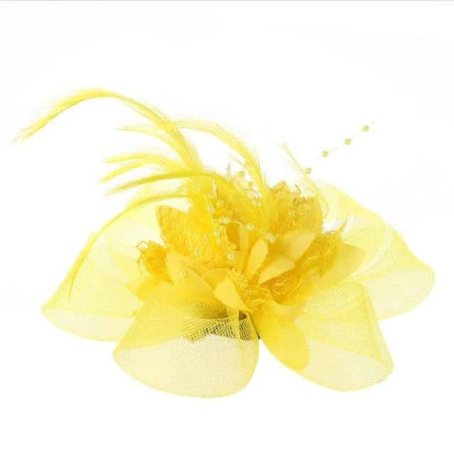 Fashion Beads Mesh Feather Flower Clip Fascinators | Bridelily - Yellow - fascinators