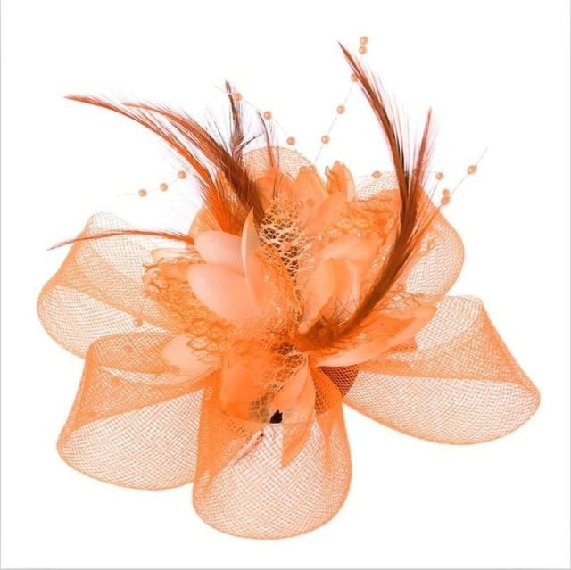 Fashion Beads Mesh Feather Flower Clip Fascinators | Bridelily - Orange - fascinators