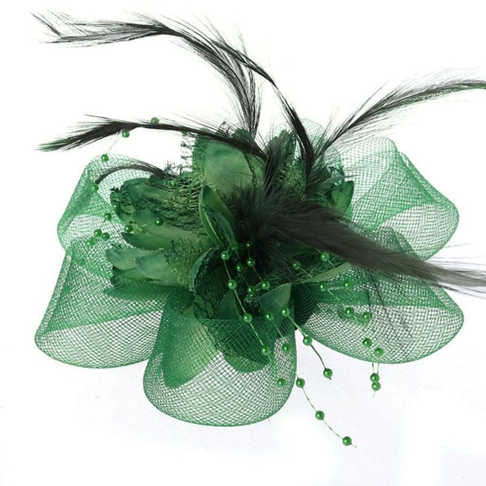 Fashion Beads Mesh Feather Flower Clip Fascinators | Bridelily - fascinators