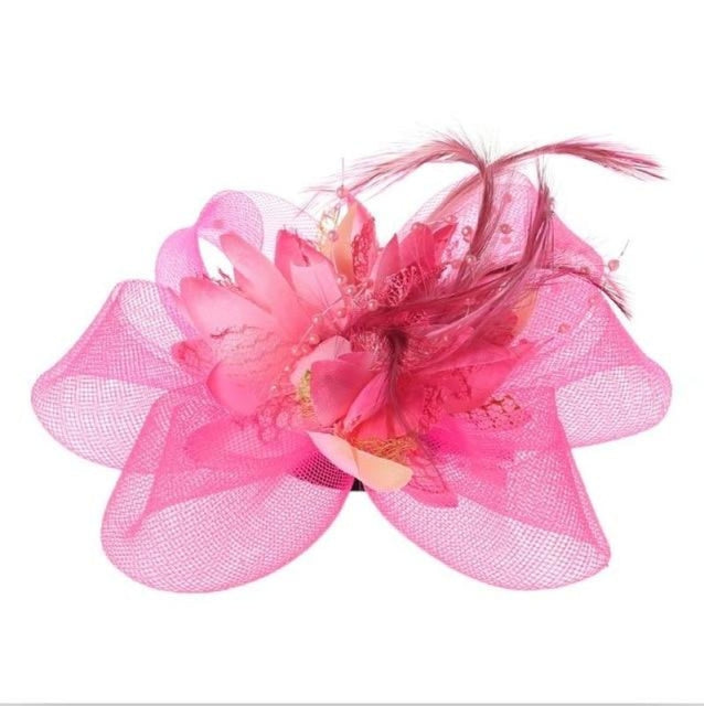 Fashion Beads Mesh Feather Flower Clip Fascinators | Bridelily - Fluorescent Pink - fascinators