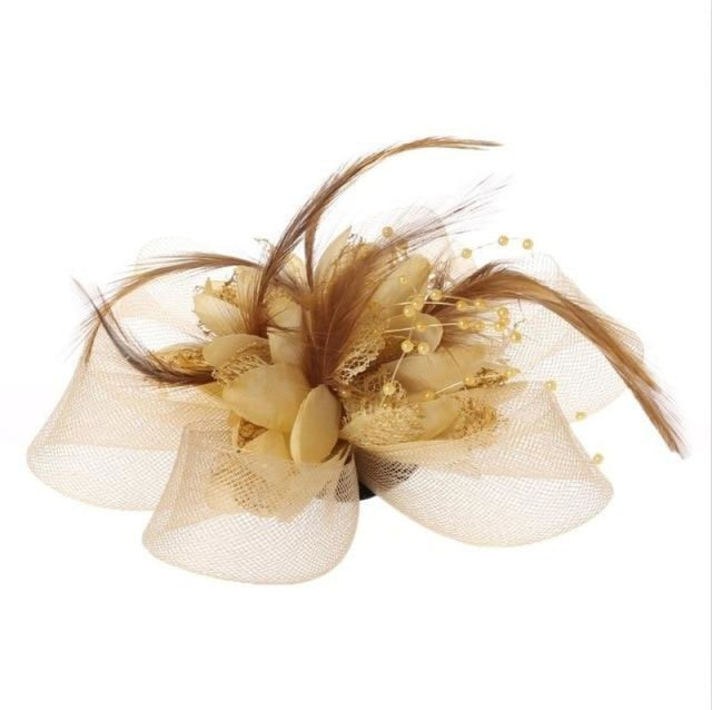 Fashion Beads Mesh Feather Flower Clip Fascinators | Bridelily - Beige - fascinators