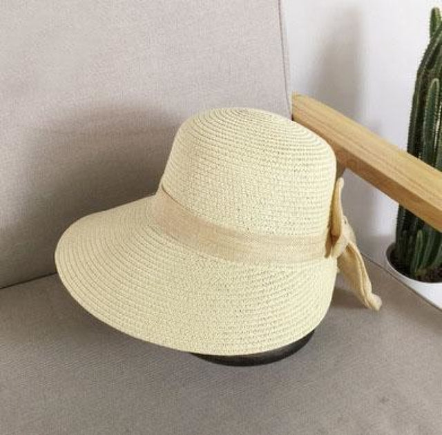 Fashion Big Bow Wide Brim Shade Sun Straw Hats | Bridelily - black - straw hats