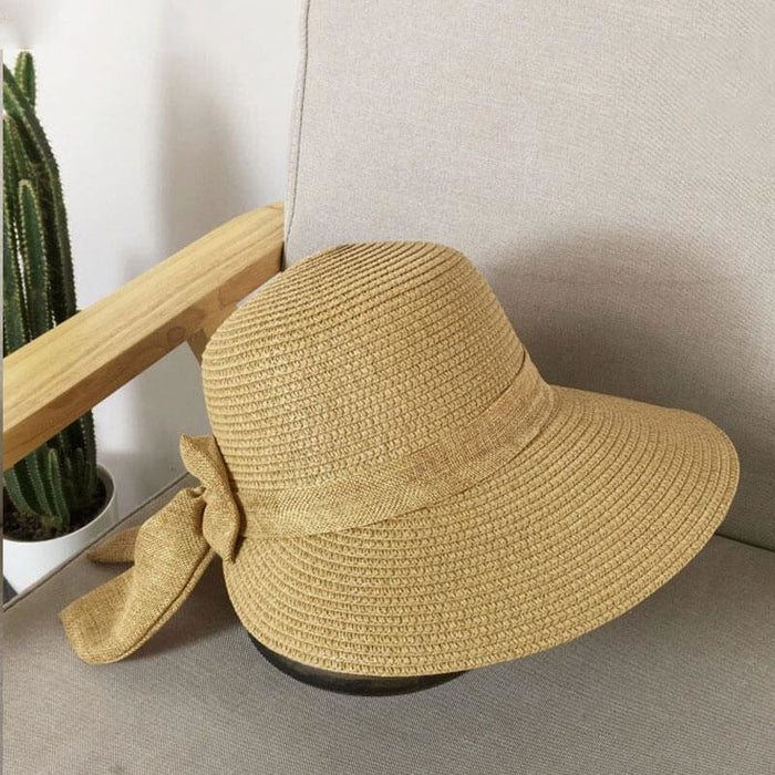 Fashion Big Bow Wide Brim Shade Sun Straw Hats | Bridelily - straw hats