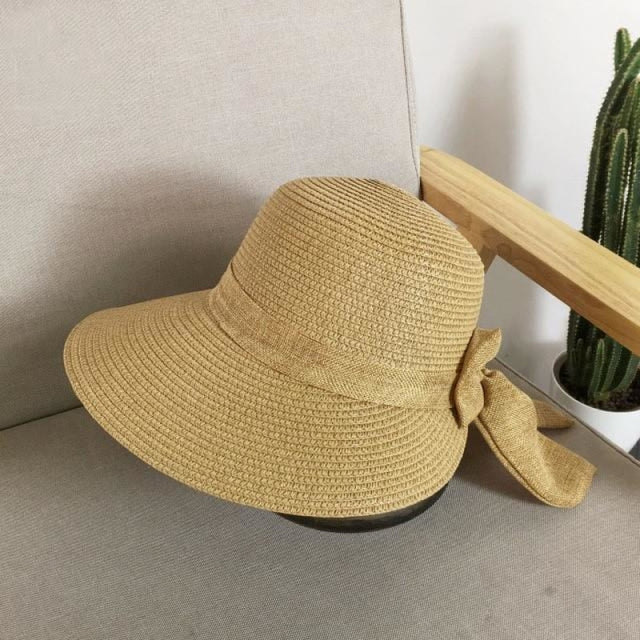 Fashion Big Bow Wide Brim Shade Sun Straw Hats | Bridelily - Khaki - straw hats