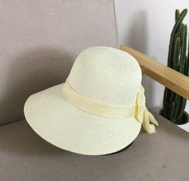 Fashion Big Bow Wide Brim Shade Sun Straw Hats | Bridelily - Milky white - straw hats