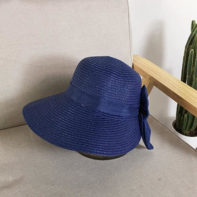 Fashion Big Bow Wide Brim Shade Sun Straw Hats | Bridelily - Navy - straw hats