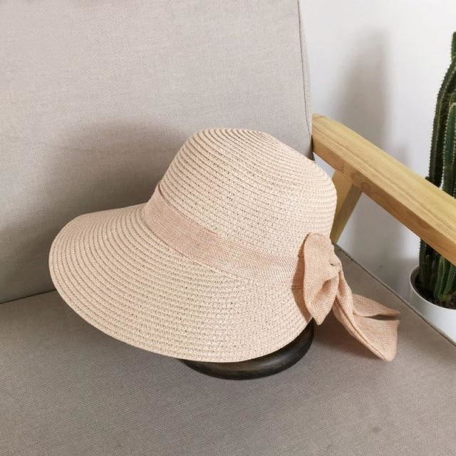 Fashion Big Bow Wide Brim Shade Sun Straw Hats | Bridelily - Pink - straw hats