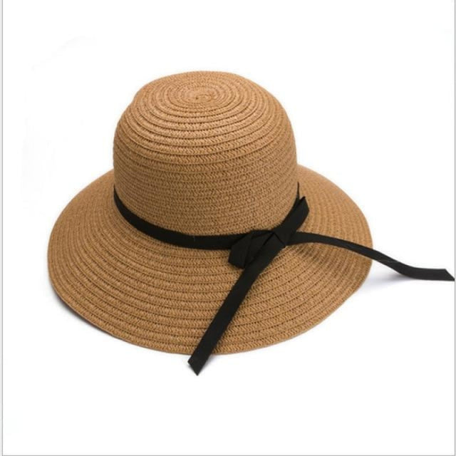 Fashion Black Straw With Black Bowknot Beach/Sun Hats | Bridelily - khaki - bowler /cloche hats