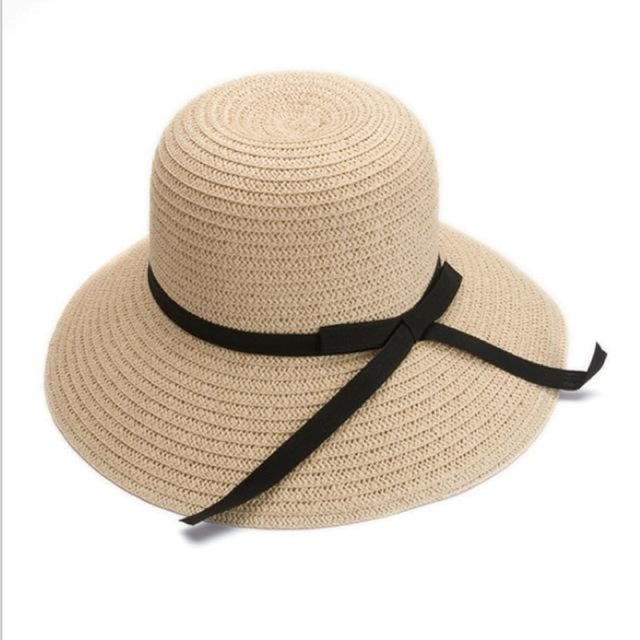 Fashion Black Straw With Black Bowknot Beach/Sun Hats | Bridelily - beige - bowler /cloche hats