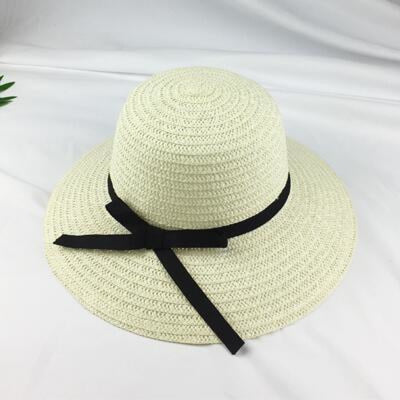 Fashion Black Straw With Black Bowknot Beach/Sun Hats | Bridelily - Milky white - bowler /cloche hats