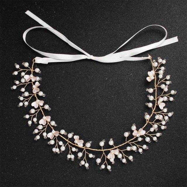 Fashion Blossom Pearls Handmade Headbands | Bridelily - HS-J4998 - headbands
