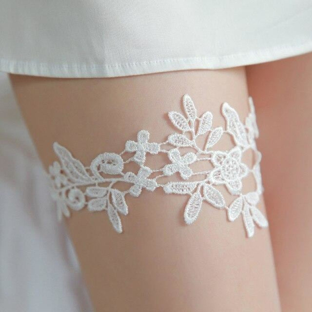 Fashion Blue Embroidered Lace Wedding Garters | Bridelily - white - garters