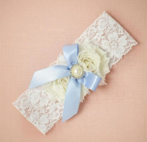 Fashion Bowknot Pearl Lace Wedding Garters | Bridelily - color 1 - garters