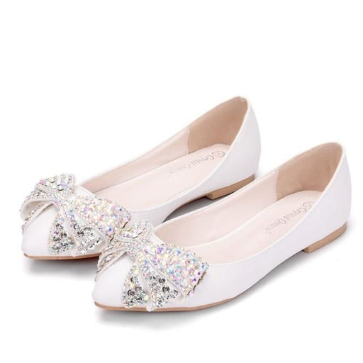 Fashion Bowknot Pointed Toe Wedding Flats | Bridelily - white / 34 - wedding flats