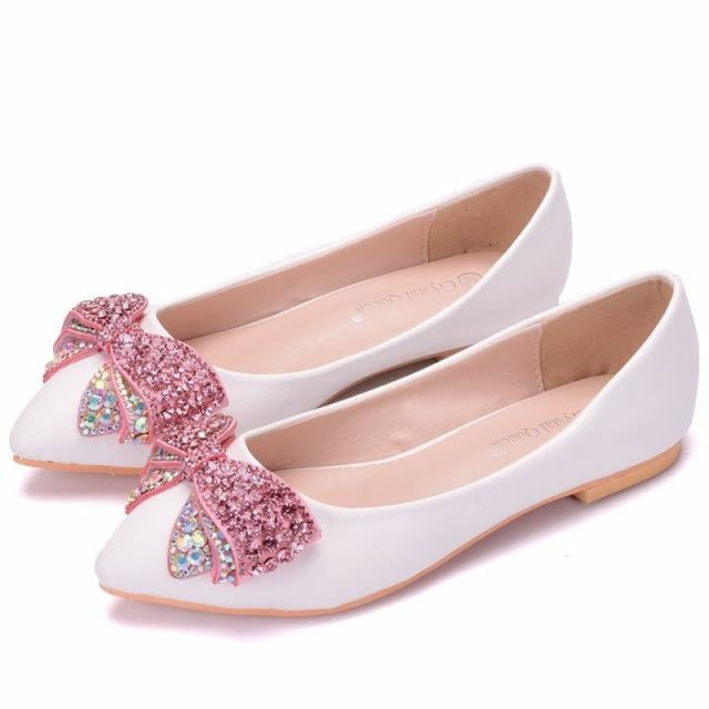 Fashion Bowknot Pointed Toe Wedding Flats | Bridelily - pink / 34 - wedding flats