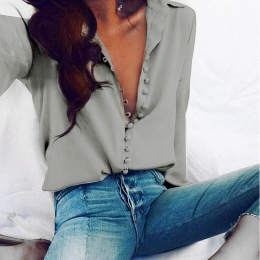 Fashion Casual Solid Color ladies office Long sleeve Blouse - Gray / L - blouses