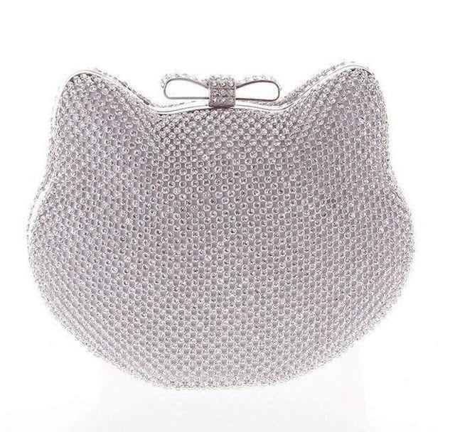 Fashion Cat Bow Crystal Glitter Wedding Handbags | Bridelily - silver - wedding handbags
