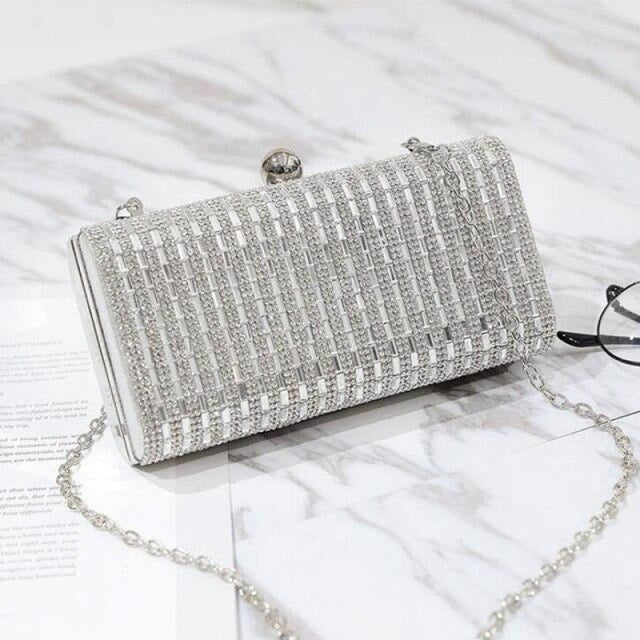Fashion Chain Rhinestone Clutches Wedding Handbags | Bridelily - Sliver - wedding handbags
