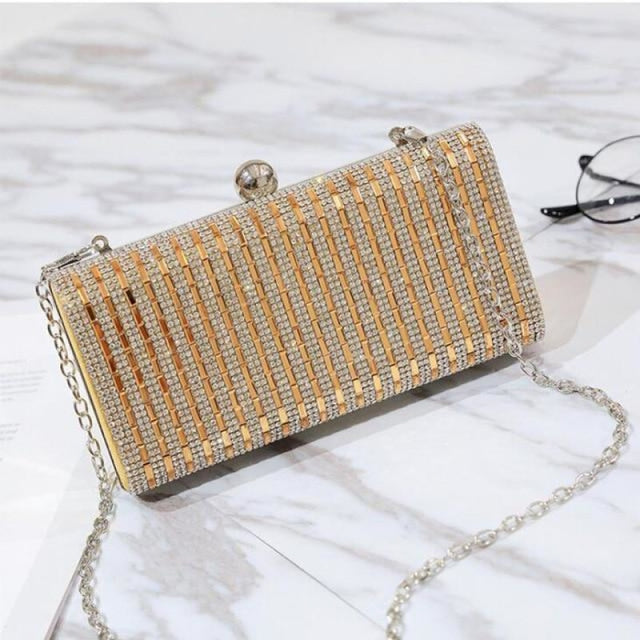 Fashion Chain Rhinestone Clutches Wedding Handbags | Bridelily - Gold - wedding handbags