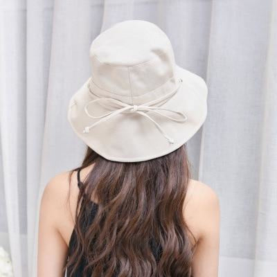 Fashion Cotton Sun With Bow Foldable Floppy Hats | Bridelily - beige - floppy hats