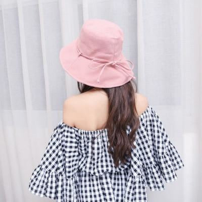 Fashion Cotton Sun With Bow Foldable Floppy Hats | Bridelily - pink - floppy hats
