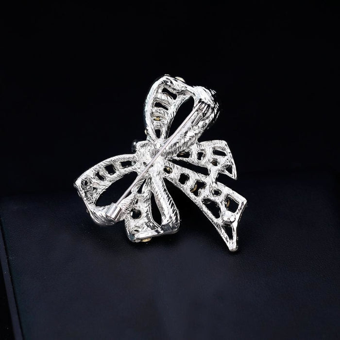 Fashion Crystal Bowknot Silver Wedding Brooches | Bridelily - brooches