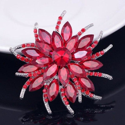 Fashion Crystal Flowers Hamdmade Wedding Brooches | Bridelily - Red - brooches