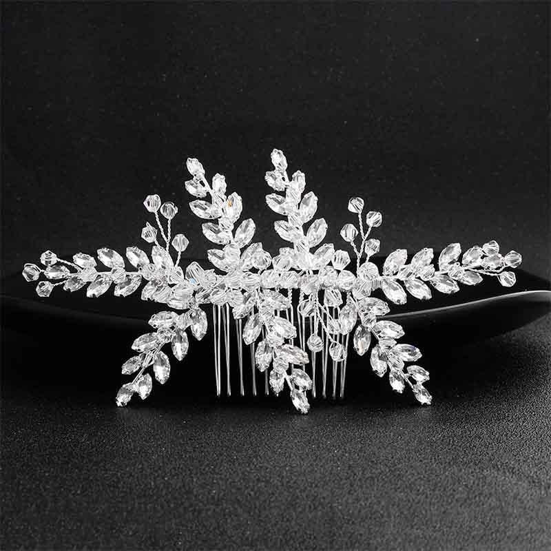 Fashion Crystal Leaves Jewerly Combs & Barrettes | Bridelily - Silver - combs & barrettes