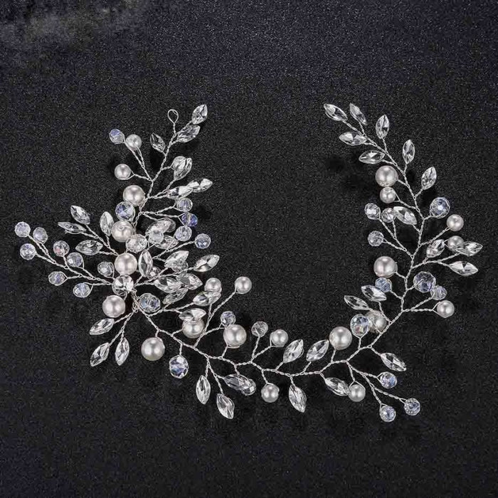 Fashion Crystal Pearls Handmade Womens Headbands | Bridelily - Silver Plated - headbands