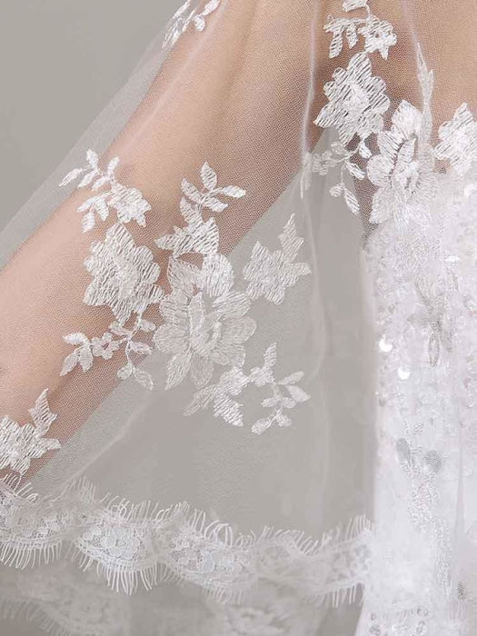 Fashion Embroidery Lace White Wedding Wraps | Bridelily - wedding wraps