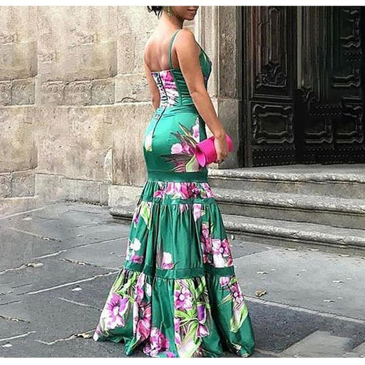 Fashion Floral Plunge Ruffles Layered Fishtail Dresses
