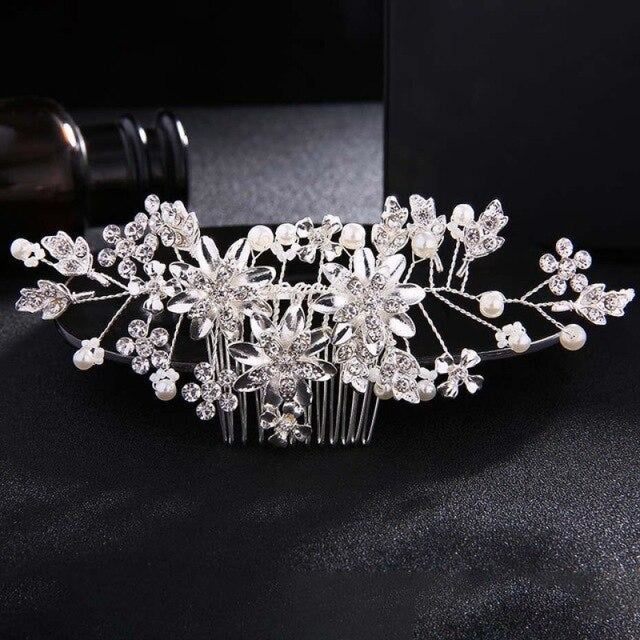 Fashion Flower Crystal Handmade Combs & Barrettes | Bridelily - Silver - combs and barrettes