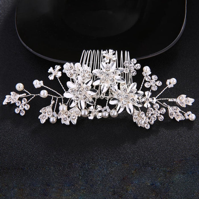 Fashion Flower Crystal Handmade Combs & Barrettes | Bridelily - combs and barrettes