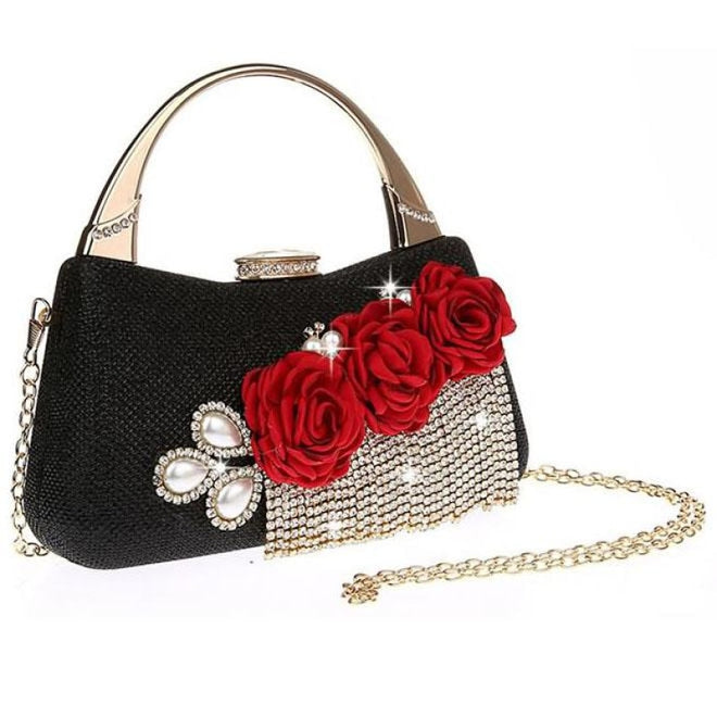 Fashion Flower Tassel Bead Chain Wedding Handbags | Bridelily - Black - wedding handbags