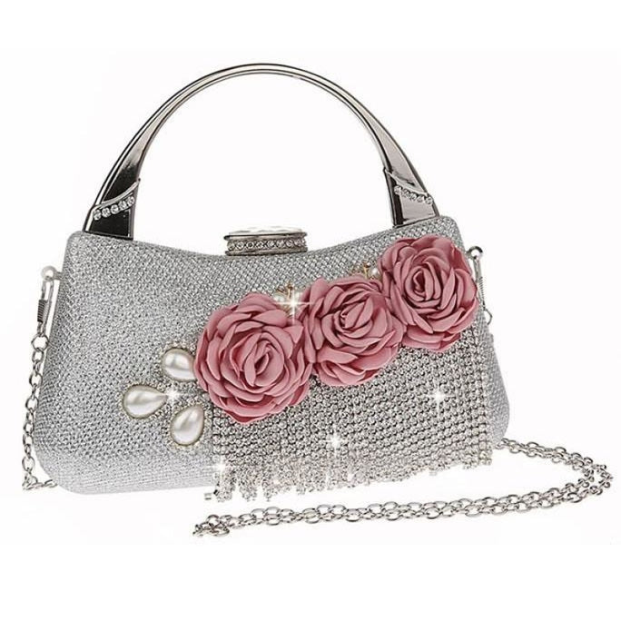 Fashion Flower Tassel Bead Chain Wedding Handbags | Bridelily - Silver - wedding handbags