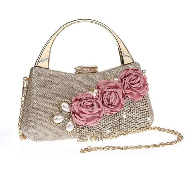 Fashion Flower Tassel Bead Chain Wedding Handbags | Bridelily - Champagne - wedding handbags