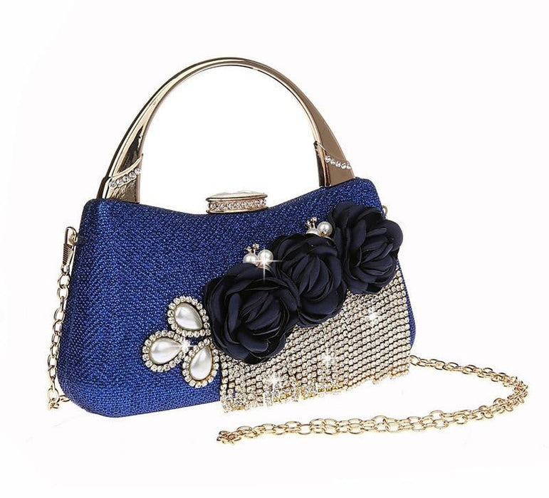 Fashion Flower Tassel Bead Chain Wedding Handbags | Bridelily - Blue - wedding handbags