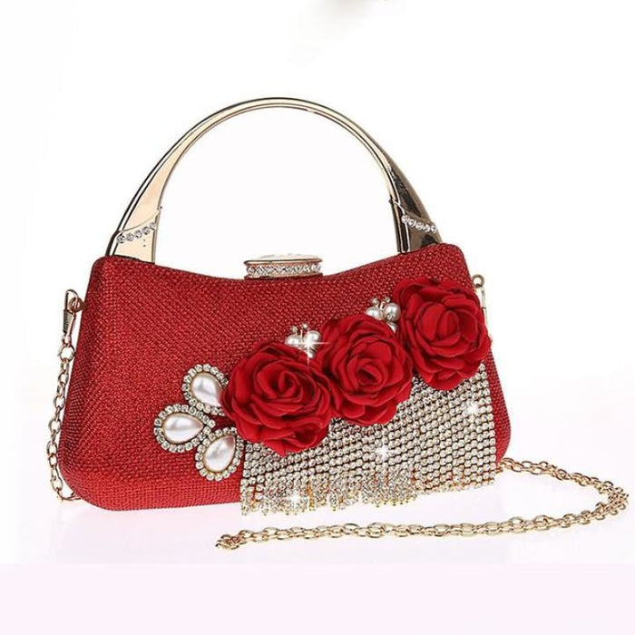 Fashion Flower Tassel Bead Chain Wedding Handbags | Bridelily - Red - wedding handbags