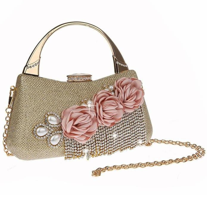 Fashion Flower Tassel Bead Chain Wedding Handbags | Bridelily - Gold - wedding handbags