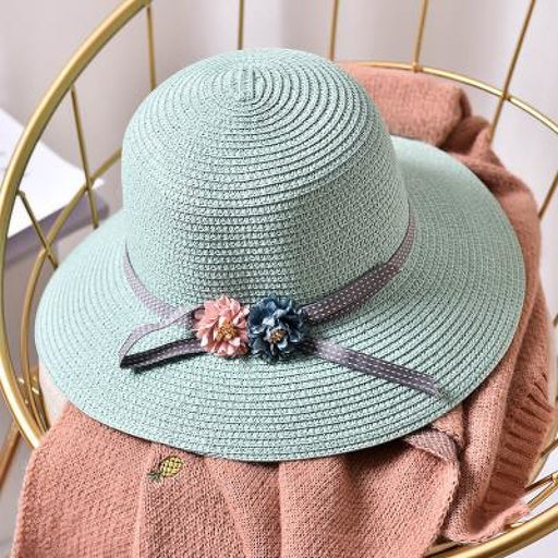 Fashion Flower Wide Brim Straw Beach/Sun Hats | Bridelily - Green / Children size - beach/sun hats