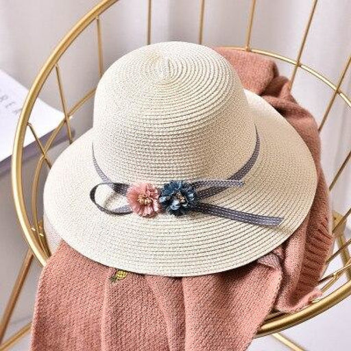Fashion Flower Wide Brim Straw Beach/Sun Hats | Bridelily - Milk white / Children size - beach/sun hats