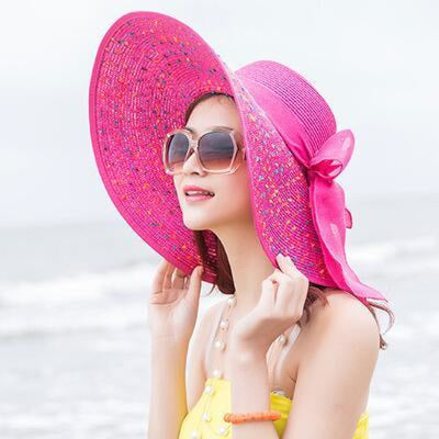 Fashion Foldable Chiffon Sun Bowknot Floppy Hats | Bridelily - rose Red - floppy hats